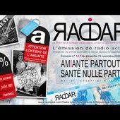 """Émission RADAR n°117, du dimanche 15 novembre 2020, intitulée """" AMIANTE PARTOUT, SANTÉ NULLE PART """""""