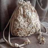 Bag Pouch bag Irish crochet Gift for women Lace Purse Boho jewerly Retro Widding gift Handmade flowers Handmade bags Gift for her - $175.00 USD
