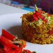 Repas d'un soir #10: Risotto crémeux aux tomates, courgettes et curry. - LacLac, la cuisine sans lactose