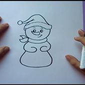 Como dibujar un muñeco de nieve paso a paso   How to draw a snowman