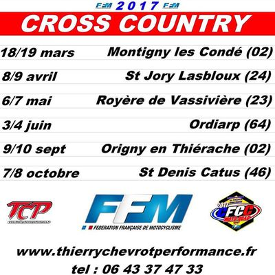 Calendrier Cross Country 2017