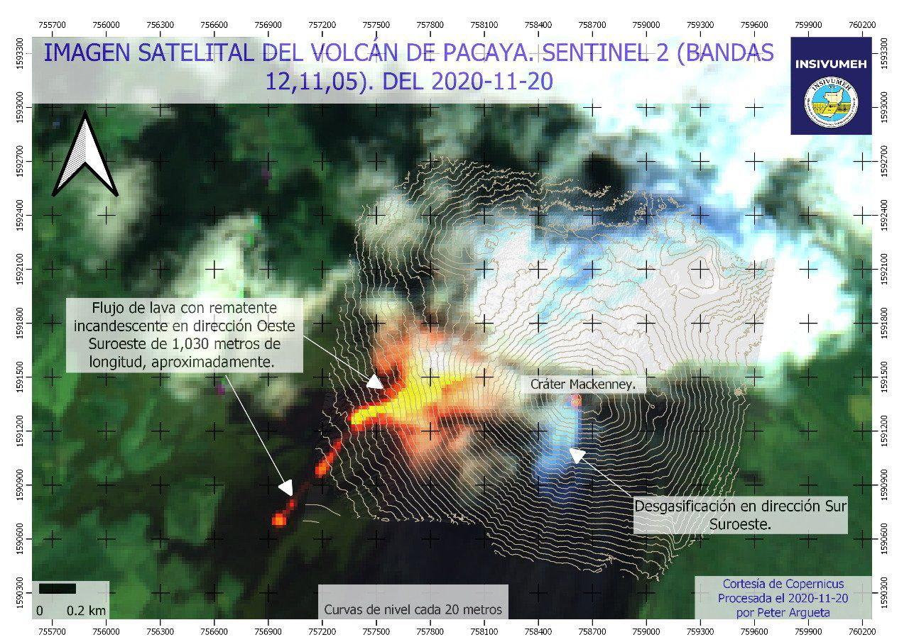 Pacaya - Sentinel-2 bands image 12,11,5 from 20.11.2020 - Doc. Insivumeh