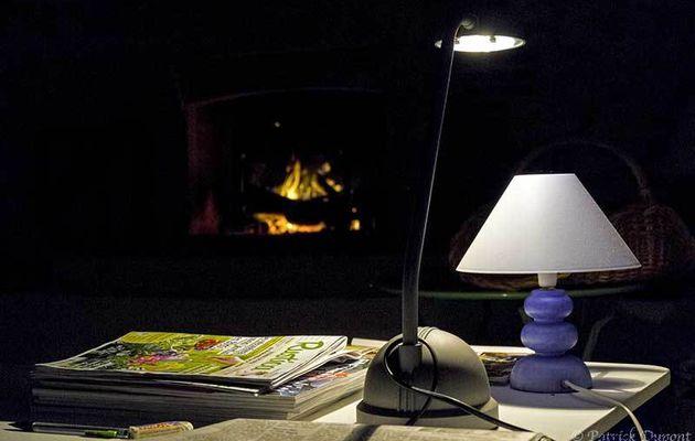 Lecture au coin du feu.