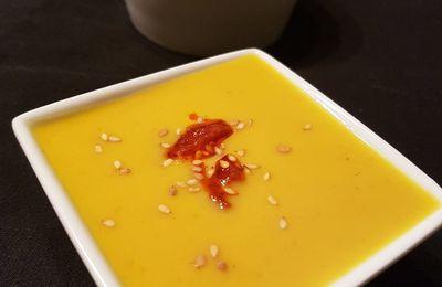 Soupe de butternut, marron et chorizo