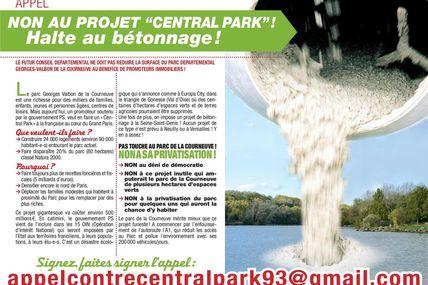 """Non à """"Central Park"""", ne livrons pas le parc de la Courneuve aux promoteurs!"""
