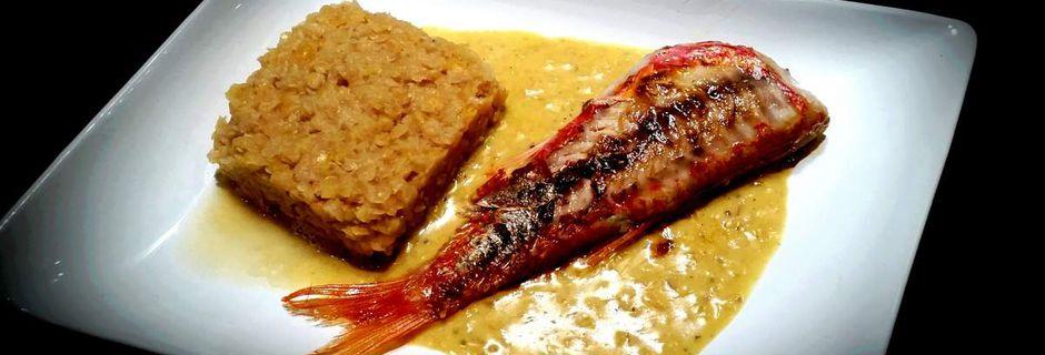 Rouget et sa sauce safranée Et lentilles de corail