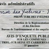 """Enquête publique """"Le port de déchet"""" - Réunion d'information le jeudi 12 septembre à 19h30, salle Grelbin, 10 bis rue Hautil à Triel - ASAEECC - Votre vie à Carrières !"""