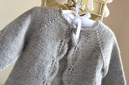 **** ALL PDF KNITTING PATTERNS ARE IN ENGLISH ONLY **** Description Listing for KNITTING PATTERN ONLY - Aida top down Cardigan - P111 A classic design, simple leaf pattern adorns the front borders, knit in one piece seamlessly from the top down. This little cardi is sure to become your