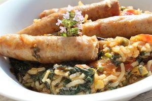 One Pot Riz-Saucisses de volaille-Epinards-Petits pois Cookeo (à ma façon)