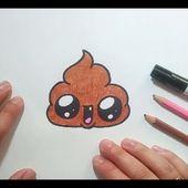 Como dibujar una caca kawaii paso a paso   How to draw a kawaii poop