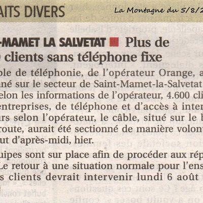 Panne internet-téléphone en Châtaigneraie