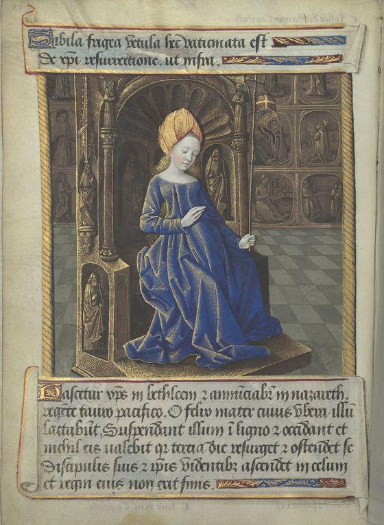 La Sibylle de Phrygie selon Baccio Baldini, Filippo Barbieri, les Heures de Louis de Laval (avec la page de typologie en regard)