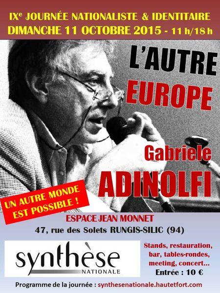 DIMANCHE 11 OCTOBRE : UN AUTRE MONDE ET UNE AUTRE EUROPE, AVEC « SYNTHÈSE NATIONALE »