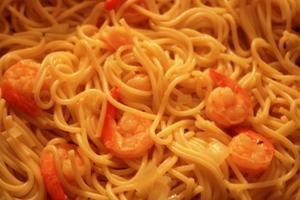 Spaghettis au citron et crevettes