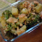 Recette : Gratin de saumon aux brocolis - Les Gralettes