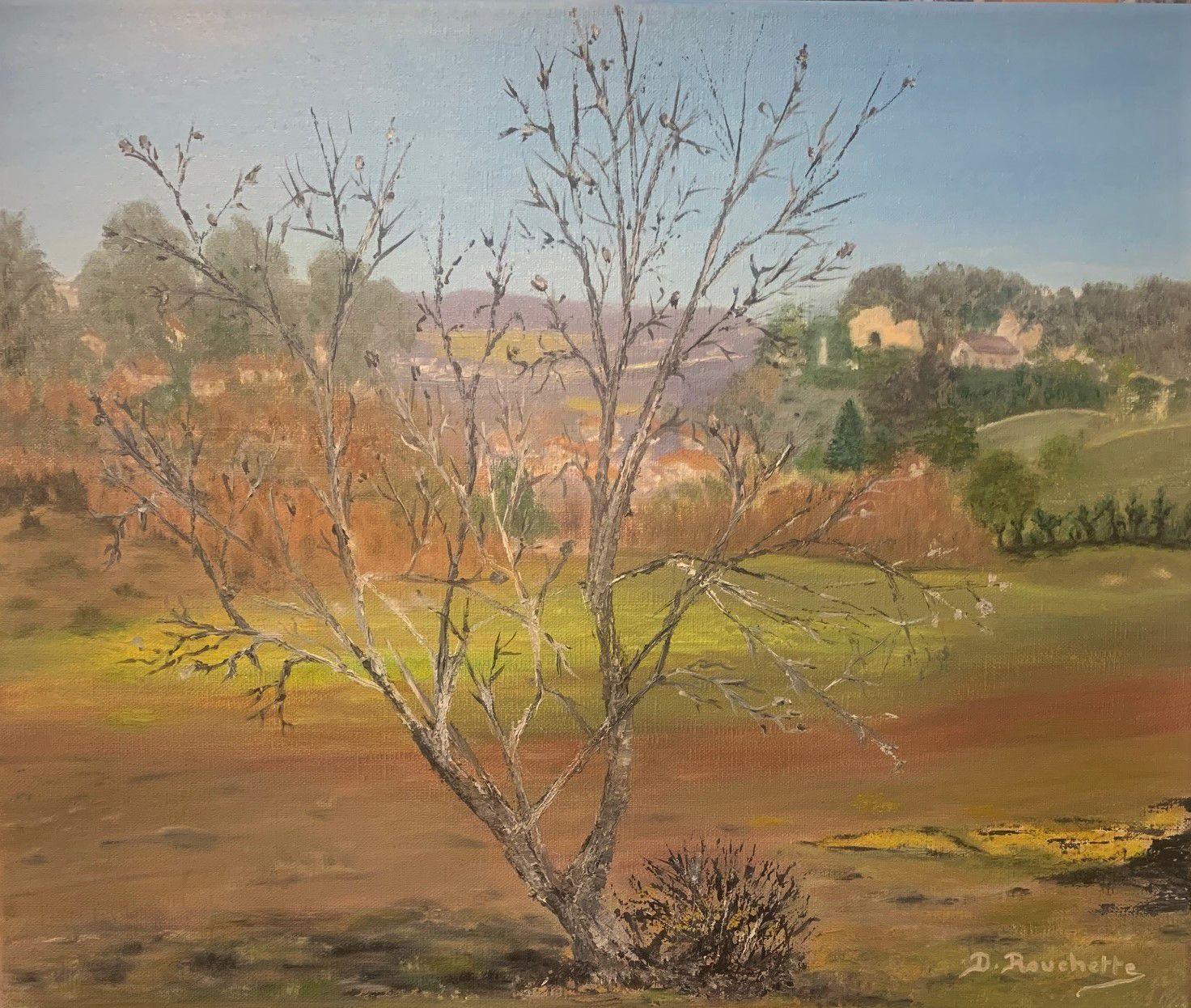 Et voilà une peinture de plus que Danielle a peint à l'huile. Ce pauvre arbre attend ses feuilles  !!