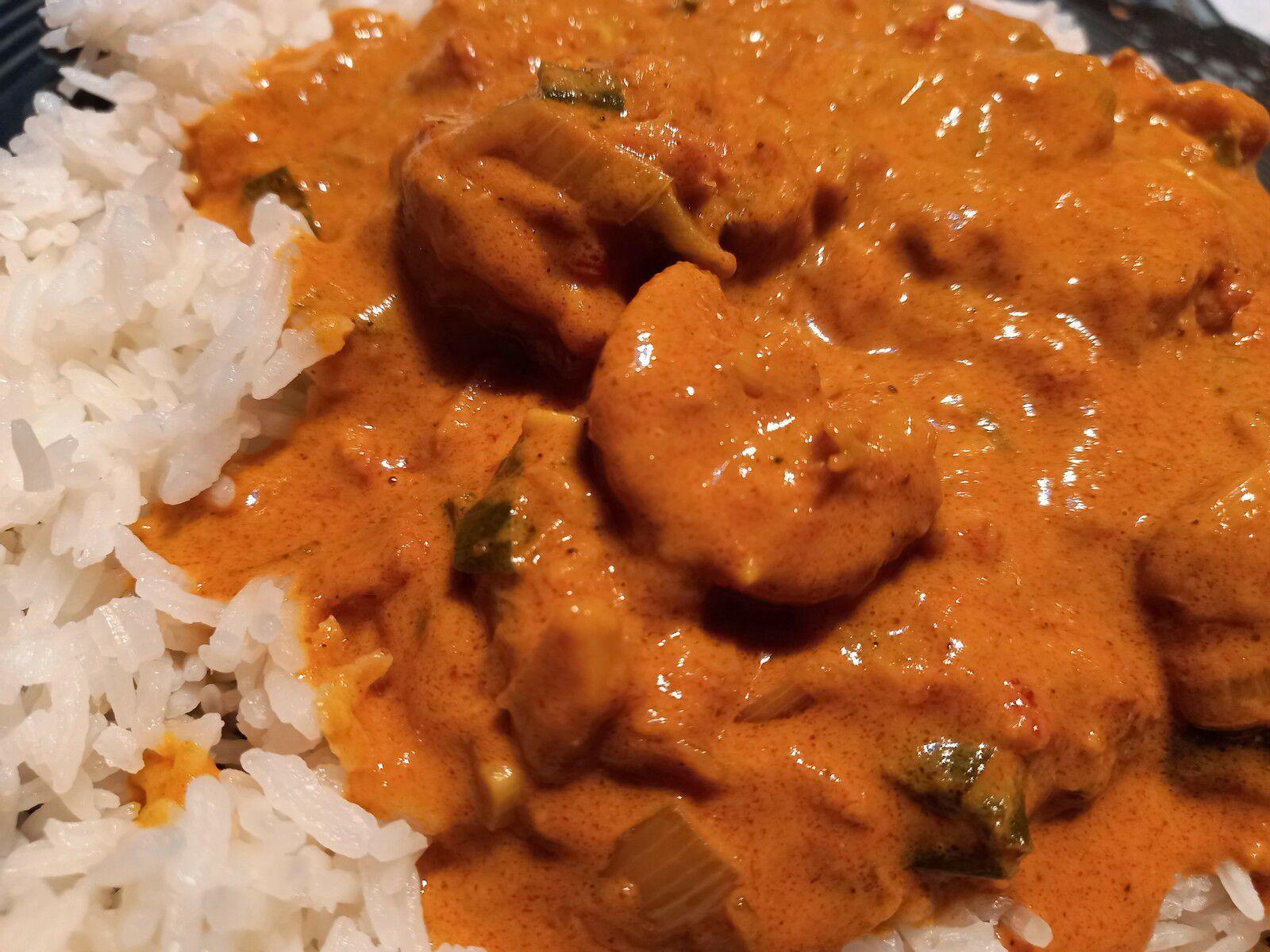 Crevettes à l'indienne au Wok