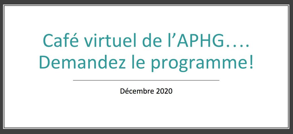 Les cafés  virtuels de l'APHG
