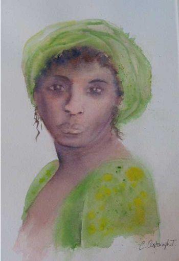 portrait bandeau vert