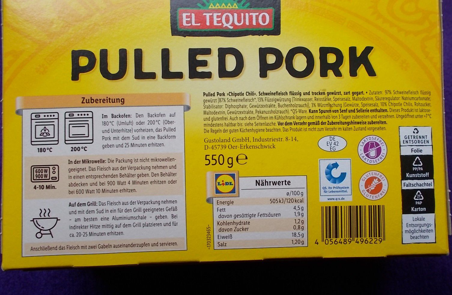 Lidl El Tequito Pulled Pork Hot Chipotle Chili