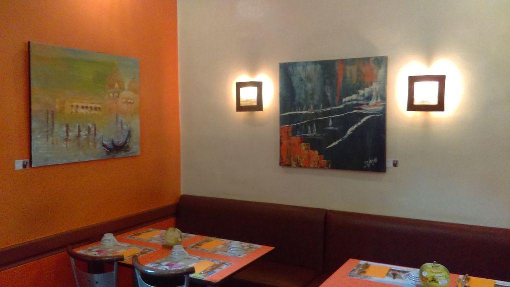 """Exposition de quelques unes de mes oeuvres à la crêperie """"La Flambée"""" située à LAVAL"""
