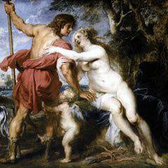 Vénus Eros et les roses symbole d'amour ardent