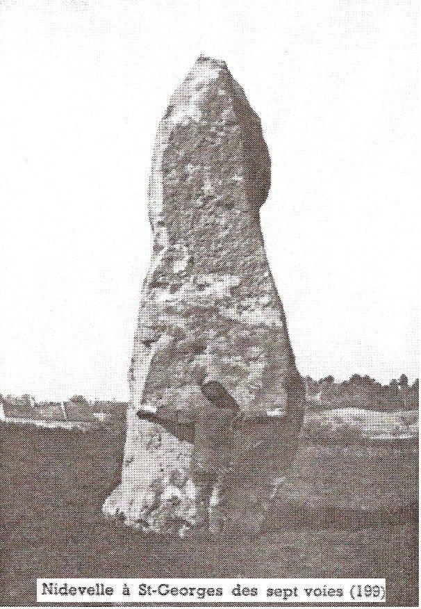 Menhir de Nidevelle ou Pierre Longue de Sale Village ou de la Pierre qui Pousse ou de Maison Neuve, Saint Georges des Sept Voies
