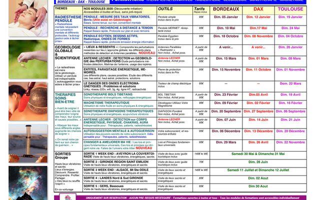 Calendrier 2020 Formations Thérapies Développement Géobiologie Radiesthésie - BORDEAUX, DAX ET TOULOUSE