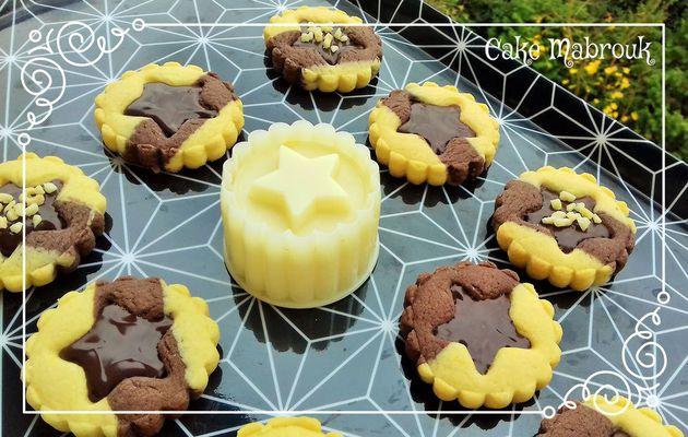 Tartelettes étoiles choco vanille garniture chocolat