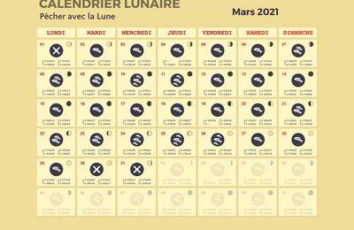 Calendrier lunaire de mars 2021.