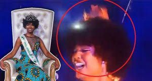 Imágenes de Dorcas Kasinde, Miss África 2018, durante la ceremonia en la que el fuego se prendió en su pelo.- El Muni.