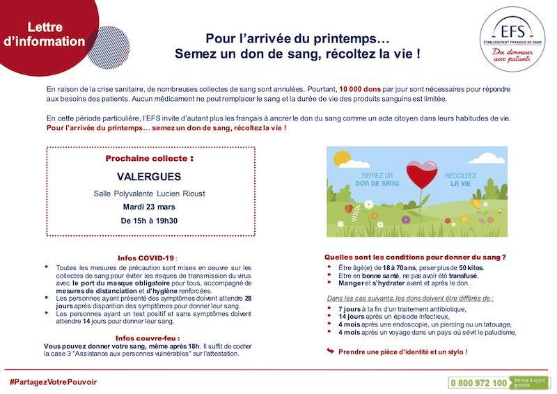 Don du sang à Valergues le 23 mars salle Lucien Rioust
