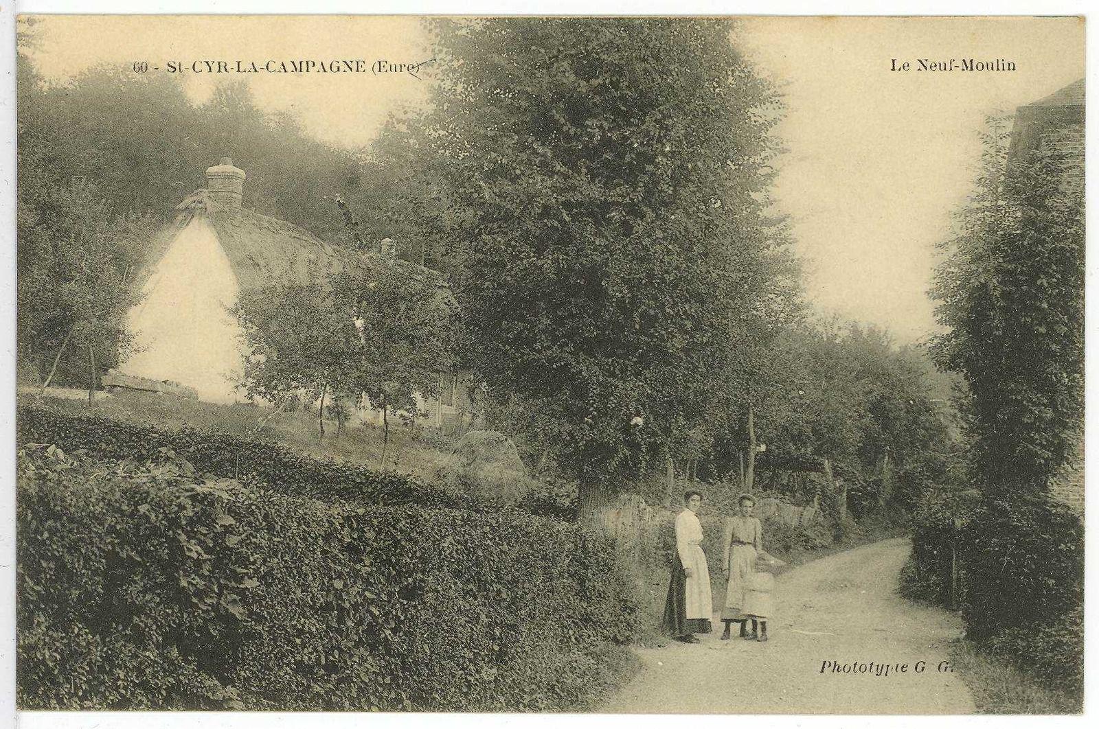 Saint-Cyr-la-campagne. Le Neuf-moulin. Carte postale illustrée des années 1910 disponible sur le site des Archives de l'Eure (cote : 8 Fi 529-8).