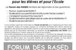 Forum des Rased - Suppression des Rased ? Enjeux et conséquences - 23 octobre 2010