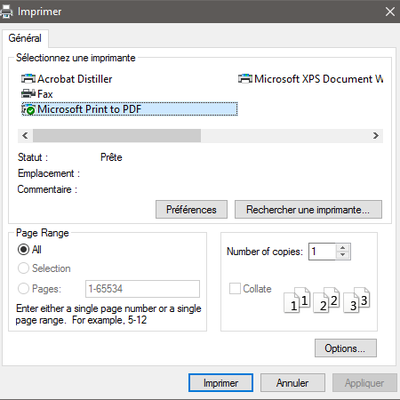 Windows10 Print to PDF -  Print to XPS
