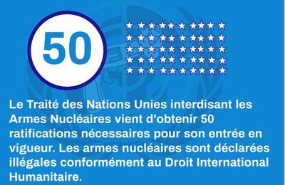 """déclaration du Mouvement de la Paix """"le traité d'interdiction des armes nucléaires entre en vigueur. Célébrons cette victoire le mercredi 4 novembre"""