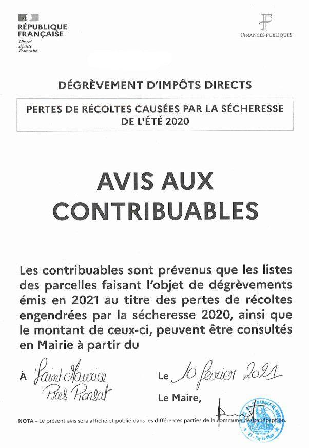 Dégrèvements impôts directs - Secheresse 2020