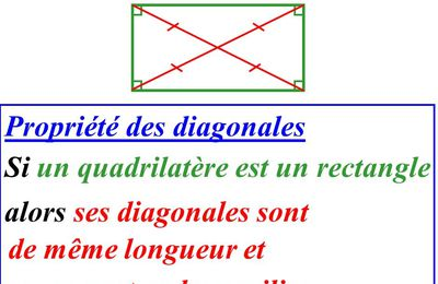SIXIEME - Propriétés du rectangle (diagonales)