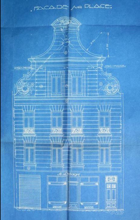 Premier plan, 14 place de la Vacquerie, Binaux, architecte, 1923 - plan de 1923 (détail).