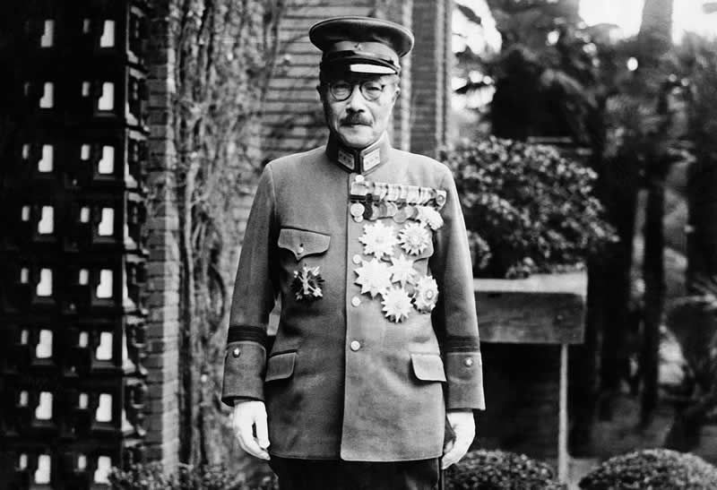 Former Japan's Prime Minister General Hideki Tojo is shown with medals outside of the House of Representatives. Photo / AP
