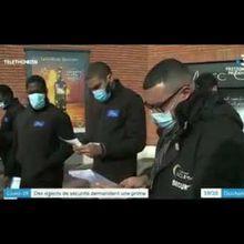 Des agents de sécurité en grève dans un magasin Carrefour: missions d'hygiène et désinfection (Covid)