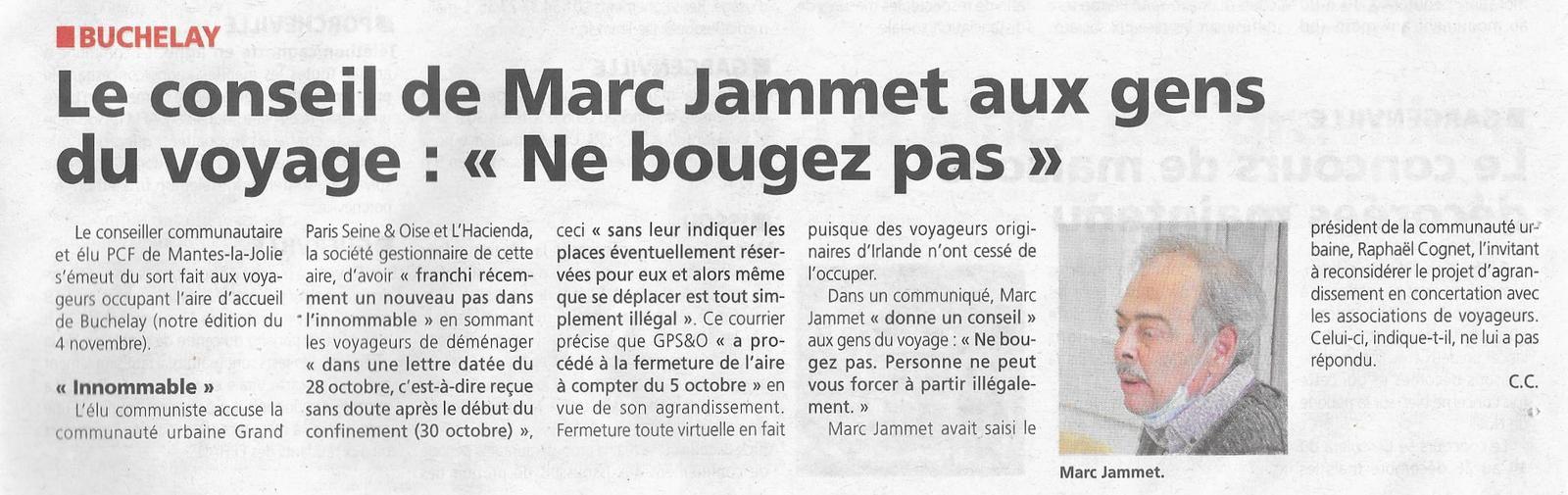 """Le Courrier de Mantes. Le conseil de Marc Jammet aux gens du voyage: """"ne bougez pas""""."""