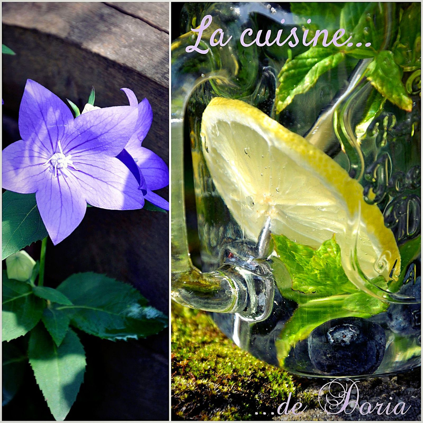Eau parfumée fruitée à la myrtille, menthe du jardin et citron