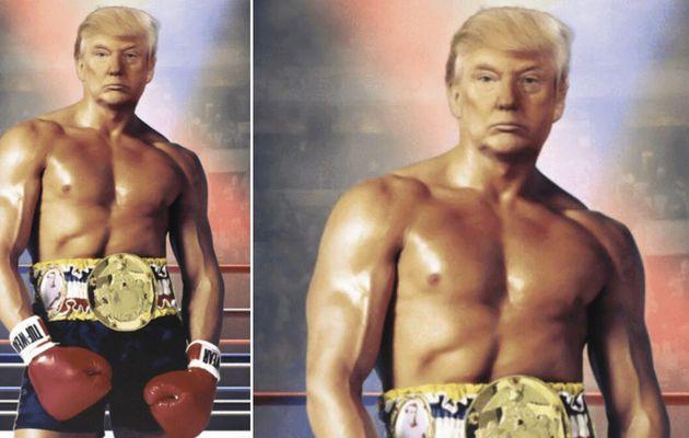 Les utilisateurs de Twitter réagissent après que Trump publie une image de la poitrine nue de son visage sur un corps de Rocky Balbao