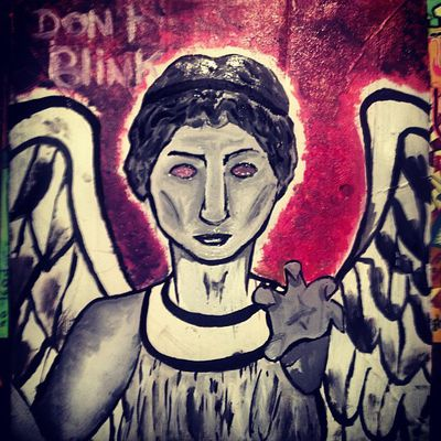 """Second #Weeping #angel of #Doctorwho! <3 I didn't made him """"#scream """" because I'm going to hang this one in my #room and I don't want to look at a screaming weeping angel at #night .. X) @ #angel #dream #serie #show #love #favorite #art #painting #paint #draw #drawing #blink #red #colorful #wings"""