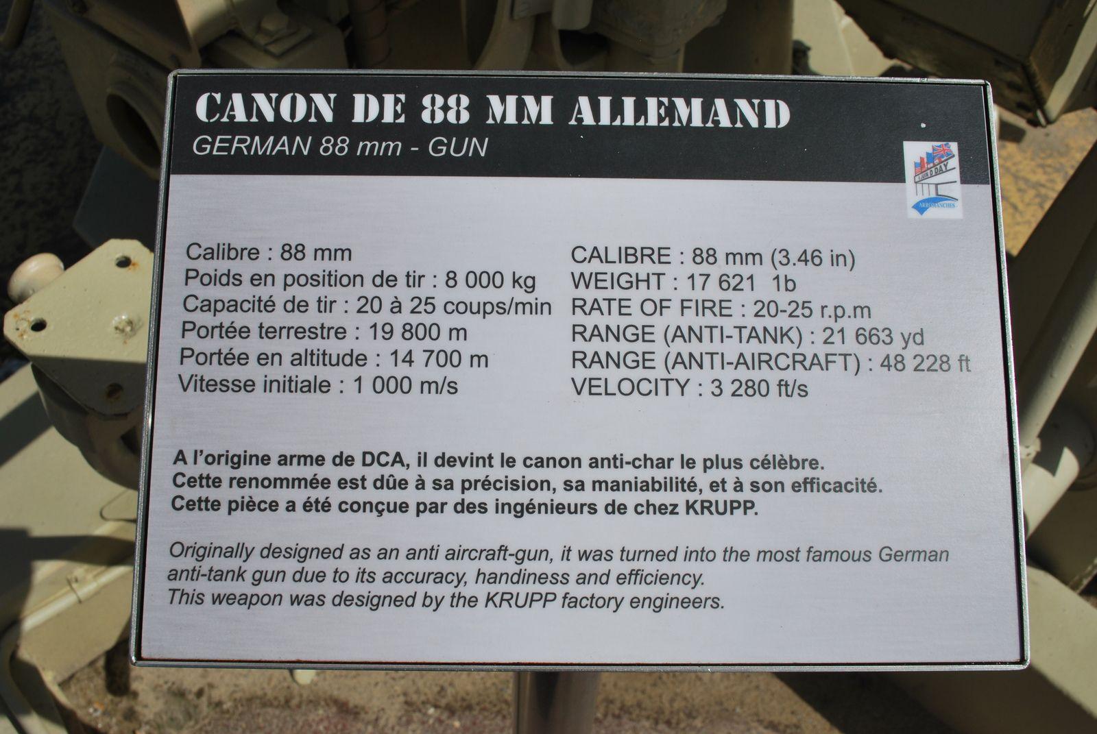 crédit photos Alain Chaussade - V 4 sur chassis métal,  sur caisson bois Musée de Vierville 2017 autorisation Antoine et Fabien Brissard - Arromanche Canon de 88 -