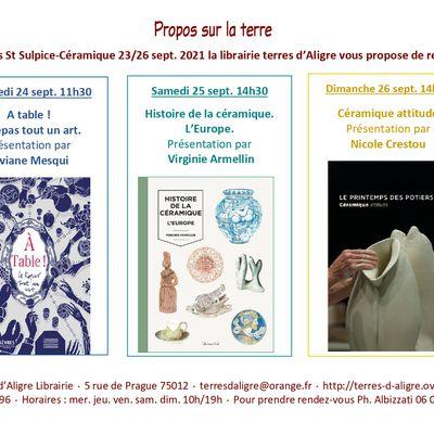Propos sur la terre : l'actualité livre à  St-Sulpice Céramique 23/26 sept. 2021