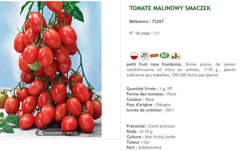 """Saisies d'écran des différentes variétés de """"malinowy"""" vendues par Baumaux."""