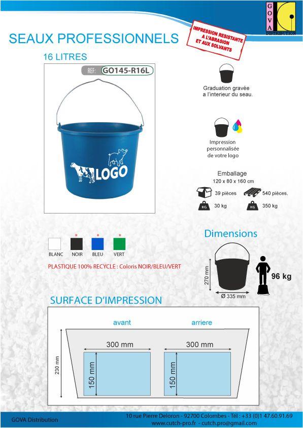 Seaux professionnels en plastique de 16 litres impression de votre logo