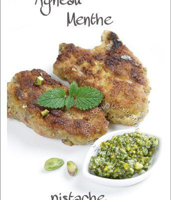Côtelettes d'agneau panées et pesto menthe pistache